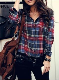 jewel-tone plaid / black denim / brown bag / outfit