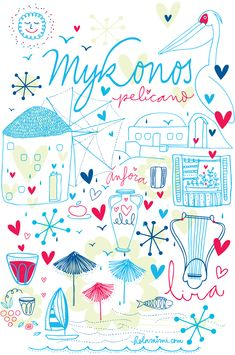 Mek Frinchaboy #illustrations and #lettering of  Mykonos Greek island for #fashion brand