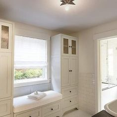 HSH Interiors  window seat, built in bench, bathroom bench, built in bathroom bench, built in bath bench,