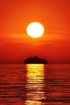 A departure under sunset, Ialysos Greece