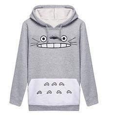 Inspirado+por+Meu+Vizinho+Totoro+Gato+Anime+Fantasias+de+Cosplay+Hoodies+cosplay+Estampado+Branco+/+Cinzento+Manga+Comprida+Casaco+–+BRL+R$+41,71