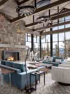 Incredible mountain modern dwelling offers slope-side living in Montana Modern Mountain Home, Mountain Living, Mountain Homes, Cozy Living Spaces, Living Rooms, Lodge Style, Modern Rustic, Rustic Barn, Modern Farmhouse