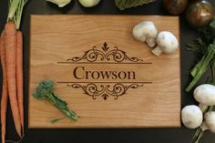 Personalized Cutting Board With Last Name & Ornate Design - Morgann Hill Designs