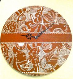 Hand painted wall clock with intricate design by sukhu on Etsy