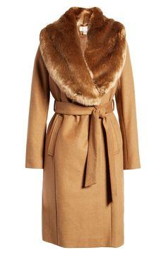Rachel Parcell Faux Fur Collar Wool Blend Coat (Nordstrom Exclusive)   Nordstrom Faux Fur Collar Coat, Fur Collars, Fur Coat Fashion, Fur Stole, Winter Coats Women, Wool Blend, Fashion Outfits, Fashion Clothes, Women's Fashion