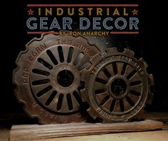 Vintage industrial gear decor from IronAnarchy.com Industrial Farmhouse Decor, Vintage Farmhouse Decor, Antique Farmhouse, Farmhouse Chic, Farmhouse Design, Vintage Industrial, Industrial Style, Primitive Antiques, Vintage Travel
