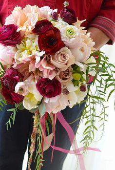 Marsala and blush wedding bouquet