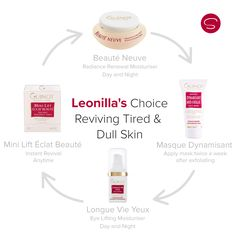 Leonilla's reviving Tired and Dull Skin Homecare Choice is for people lacking radiance and glow. The Choice will brighten dull and tired skin, give the skin a feeling of freshness and well-being and instantly re-moisturise the tissues and smooth them. Appropriate Guinot professional salon treatments include the Beaute Neuve Facial, Hydradermie2 double ionisation and Age Summum. All products available online at skinmaze.com or at the Guinot Skinmaze Crown Salon