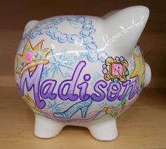 Personalized Piggy Bank Princess Design Castle by StymiepieStudios