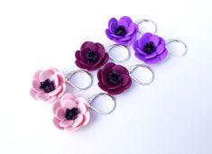 Pink Apricot Mauve Purple Anemone Flower Earrings, Anemone Earrings, Flower Earrings, Spring summer Earrings, Bridesmaid Earrings,
