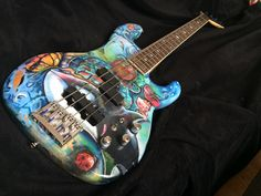 Painted Guitars, Guitar Painting, Bass, Music Instruments, Hand Painted, Colorful, Guitar, Painted Canvas, Musical Instruments