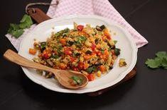 Salát z červené čočky s olivami a koriandrem