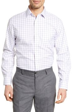 Men's Nordstrom Men's Shop Smartcare™ Traditional Fit Plaid Dress Shirt, Size 17 - 32/33 - Pink
