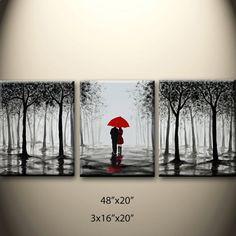 large original abstract painting walking in rain black by maggyart, $210.00