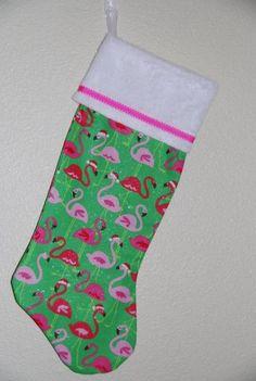 Pink Flamingo Santa Christmas Stocking