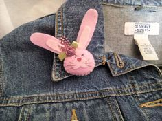 Charming and cute Easter Bunny would be happy to take place on the pocket of your kids jacket or blouse and put a smile on the face for a long time!!! Felt hand embroidered pin will be a great gift for a loved one! Size:  3.5cm x 6cm (1.4 x 2.36) - 8cm ( 3.15) is the total lengh with straightened bunnys ears  Gift box:  6cm x 8.5cm (2.36 x 3.35)  Felt brooch is made of felt and filled with soft holofiber to create volume. Hand applique. Hand embroidery. Very soft and pleasant to the touch…