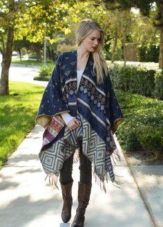 Blue Navy Aztec Poncho Cardigan Sweater Fleece Fall Boho Festival Gypsy Bohemian #Handmade #Cardigan