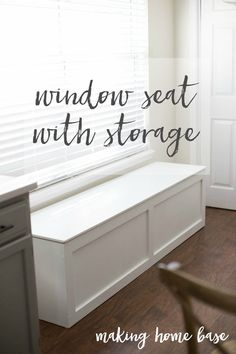 Window Seat With Storage - gain extra storage space by create a window seat. This blogger uses the extra space to store appliances not used everyday. So smart!