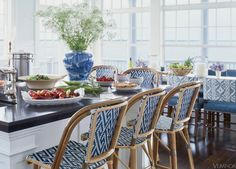 Great geometric design in the seats and backs of these comfortable kitchen counter chairs!