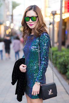 Outfit Ideas, Style Inspiration, Spring Fashion, Louis Vuitton Twist PM Bag, Sequin Dress