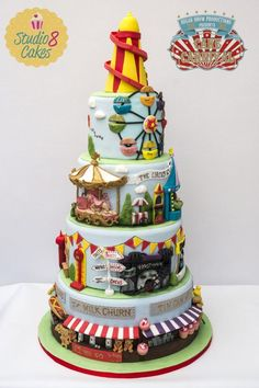 21 Sizzling Summer Birthday Cake Ideas - Pretty My Party - Party Ideas Carnival Cakes, Circus Cakes, Fancy Cakes, Cute Cakes, Beautiful Cakes, Amazing Cakes, Fondant Cakes, Cupcake Cakes, Cakes Originales