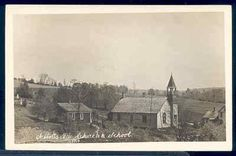 Church and school, Abbotts, New York, USA