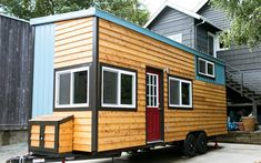 "This is Shannon's custom designed and built tiny home on wheels. ""When I set out to build my tiny house I had one thing in mind. Make it the most livable tiny house possible. Maximize s…"