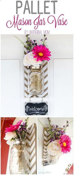 The best DIY projects & DIY ideas and tutorials: sewing, paper craft, DIY. Diy Crafts Ideas How to make a pallet mounted mason jar vase - great step by step tutorial with photos! Hanging Mason Jars, Mason Jar Vases, Mason Jar Diy, Mason Jar Projects, Mason Jar Crafts, Cute Crafts, Diy And Crafts, Diy Y Manualidades, Creation Deco