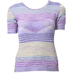 Purple Crochet Knit Top (280 NZD) ❤ liked on Polyvore featuring tops, macrame top, colorful tops, multi color tops, crochet top and purple top