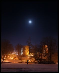 Full moon over Cēsis Castle, Latvia. Photo by Kaspars Kurcens. #Baltic #Medieval #winter