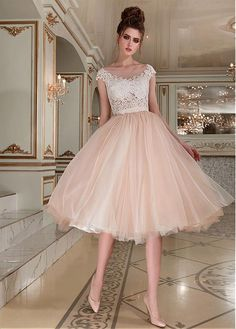 Magbridal Fantastic Tulle Bateau Neckline Tea-length Ball Gown Wedding Dress With Beaded Lace Appliques - Bridesmaid Dresses A Line Prom Dresses, Ball Dresses, Homecoming Dresses, Ball Gowns, Short Dresses, Bridesmaid Dresses, Tea Length Wedding Dress, Tea Length Dresses, Bridal Gowns