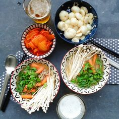 Din din! - buckwheat noodles miso soup with cilantro and baby carrots + those delicious enoki mushrooms + kimchi & mangusteen