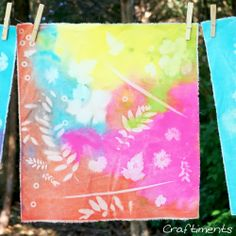 Craftiments:  Faux sun prints on fabric using acrylic craft paint #kidsart