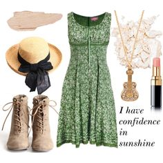 Maria - The Sound of Music  Flower print dress, £55High heel booties, $44Forever 21 jewelry, $2.80Brim straw hat, $28