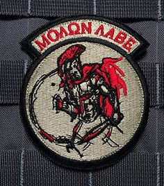Tactical Spartan Molon Labe Patch Velcro Military Morale Red/black Rocker Patch Empire Tactical http://www.amazon.com/dp/B00X1J1WOK/ref=cm_sw_r_pi_dp_QjOrvb1PZ7Z18