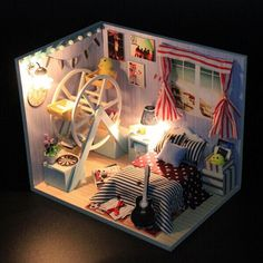 Only US$14.99, buy best Hoomeda DIY Wood Dollhouse Miniature With LED+Furniture+Cover Dollhouse sale online store at wholesale price.US/EU warehouse.