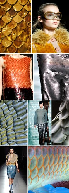 fish scale/scallop patterns Source by magghy Fish Fashion, Fashion Art, Fashion Show, Fashion Design, Fashion Trends, Modern Fashion, Textile Design, Fabric Design, Collar Circular