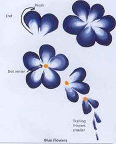 One stroke flower technique