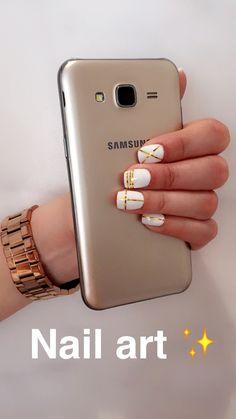 #nail #art #gold #white✨