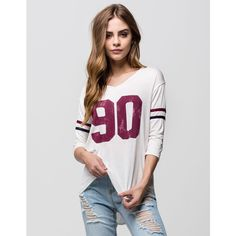 Full Tilt 90 Womens Football Tee ($23) ❤ liked on Polyvore featuring tops, t-shirts, white, distressed tee, distressed white tee, white tee, raglan tee and v neck t shirts