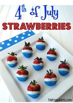4th of July Strawberries! ~ from TheFrugalGirls.com  {these tasty berries are so easy to make, and the perfect patriotic party appetizer or dessert!} #strawberry #desserts #thefrugalgirls