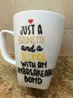 Brunette & Blonde BFF Mug Personalized 12 oz by PaperSweetsCrafts