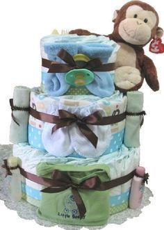Monkey baby diaper cake Monkey Diaper Cake by DiaperCakesbyRuby