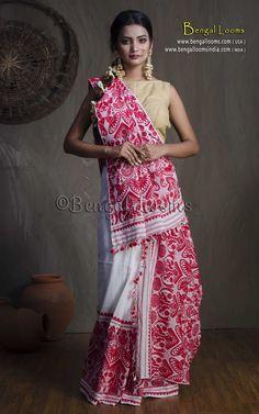 Assamese Padmini Cotton Mekhela Chador in White and Red Ethnic Fashion, African Fashion, Indian Fashion, Traditional Sarees, Traditional Dresses, Bengali Jewellery, Mekhela Chador, Blouse Tutorial, Saree Draping Styles