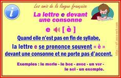 La lettre e devant une consonne
