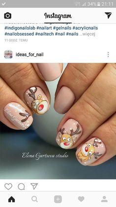 Reno navideño Christmas Nail Art, Holiday Nails, Nail Art Noel, Finger, Indigo Nails, Short Nails Art, New Year's Nails, Girls Nails, Fancy Nails