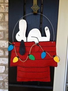Christmas Dog Burlap Door Hanger by ILoveItDesigns on Etsy, $35.00