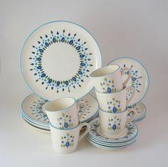 Vintage Dinnerware Set, Service for 5, Mar-crest Swiss Chalet, Vintage Mid-Century Dishes 1950's 1960's.