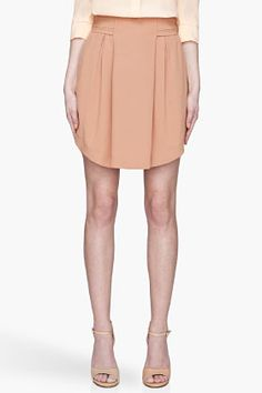 SEE BY CHLOE Caramel beige Front Pleat High-Waisted Skirt