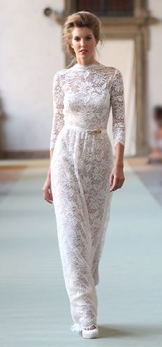 White high neck and long sleeve lace long dress White grosgrain belt with dragonfly detail White lace and gold shoes - luisabeccaria collection - Spring-summer 2012 Cute Wedding Dress, Wedding Dresses, White Lace, White Dress, Luisa Beccaria, Beautiful Gowns, Dream Dress, Dress For You, Dress To Impress